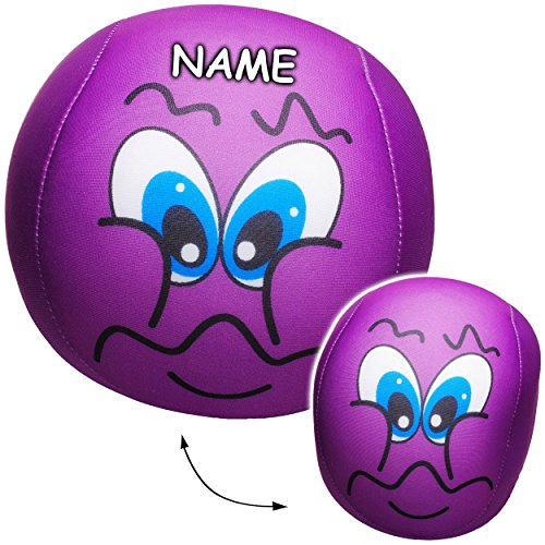 alles-meine.de GmbH 2 Stück _ große Knautschkissen / Stoffball / Knautschbälle -  lustiges Gesicht - LILA / VIOLETT  - incl. Name - 18 cm - Softbälle - Emoticon Ball / Zenball ..