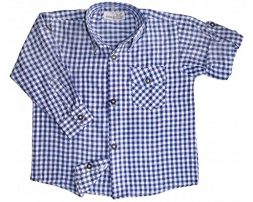 Kinder Trachtenhemd für Lederhosen Langarm Oktoberfest Trachten blau-weiss kariert 140/146