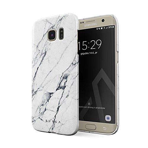 BURGA Hülle Kompatibel mit Samsung Galaxy S6 Edge Handy Huelle Licht Weiß Marmor Muster White Marble Mädchen Dünn, Robuste Rückschale aus Kunststoff Handyhülle Schutz Case Cover