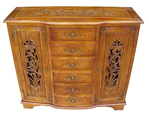French Shabby Chic Furniture - Handcarved Sideboard Cabinet in Oak Finish