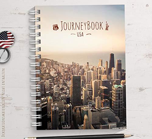 Reisetagebuch USA/Amerika zum selberschreiben oder als Abschiedsgeschenk - DIN A5 mit animierenden Aufgaben und Challenges und Reise-Zitaten -