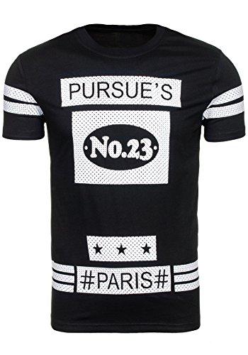BOLF T-Shirt Sommer Party Herrenshirt Motiv Print J. STYLE S3010 Schwarz XL [3C3]  