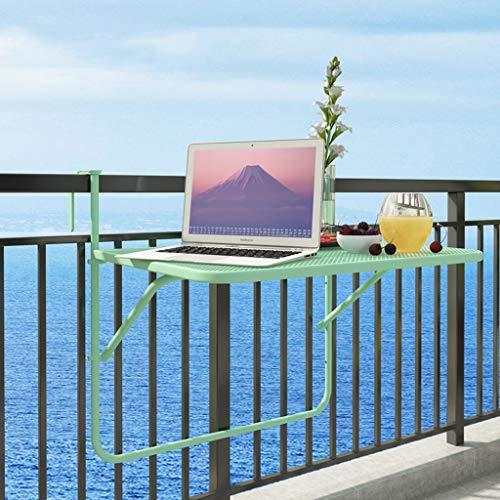 LINA Balcon Table Suspendue Garde-Corps en Métal Fer Forgé Suspension Table Pliante Simple Mini Tenture Apprentissage Petite Table, 70x50x66cm (Couleur : Green)