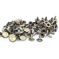 Hohlnieten-Nieten-Ziernieten 8,8x10mm Metall-Altmessing. 50 Komplette Nieten.