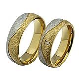Amody Edelstahlring für Männer 6MM Gold geplatzte Paare Ringe Silberner Schwarzer Ring Größe P 1/2