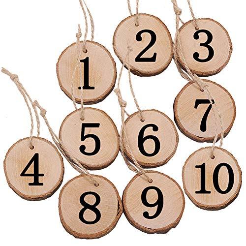 AAVBR Zahlen Karten Set 1-10 Party Dekorative DIY Projects Holz Scheiben Hochzeit Valentinstag Kunsthandwerk Ornamente Tische Sitze Rund Wandbehang Schilder Mittelstücke (A) - Wie Abgebildet Show, b