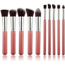 PIXNOR 10pcs madera pinceles de maquillaje profesional Kabuki Brush, Delineador de ojos, cara maquillaje (rosa + plata)
