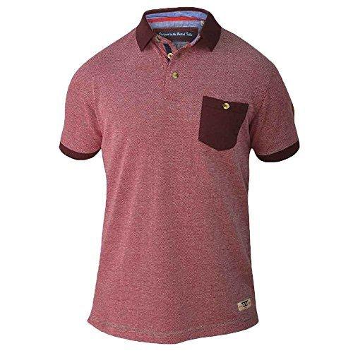 Herren Poloshirt D555 Duke Kurze Ärmel Baumwolle Kragen Groß King-size Sommer Rot - CRUZBIG