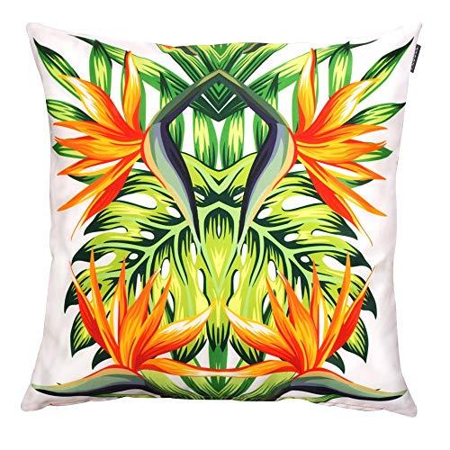 Gartenkissen Sitzpolster – 43cm x 43cm – wasserabweisend mit einer Textilfaserfüllung–, dekoratives Zierkissen für Gartenbänke, Stühle oder Sofas (1, Tropische Blumen)
