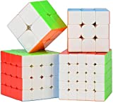 #10: D Eternal Rubiks Rubix Cube Combo Set of 2x2 3x3 4x4 5X5 Cube high Speed stickerless Magic Rubic Cube Brainstorming Puzzle Rubick Cube Combo 4 Game Toy