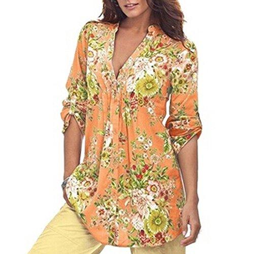 Yanhoo Frauen Vintage Blumendruck V-Ausschnitt Tunika Tops Damenmode Plus Size Tops Damen Sommer Hemden Longblusen Strandbluse Blusen Vest Casual Stretch (XL, Gelb-3) (Kleid Size Frauen Shirt Für Plus)
