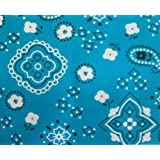 Bandana Turquoise Poly Cotton 58 Wide Fabric By the Yard (F.E.®) by The Fabric Exchange