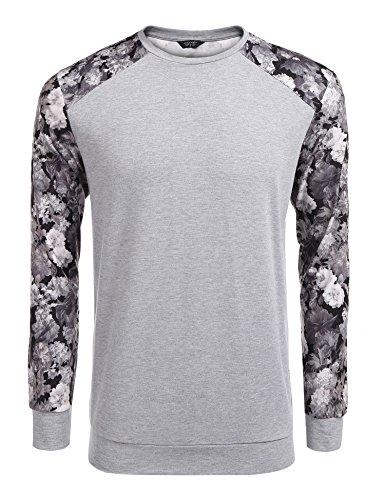 Burlady herren pullover o-neck lange ärmel floral patchwork - casual Grau sweatshirt XXL (Grau Floral Pullover)