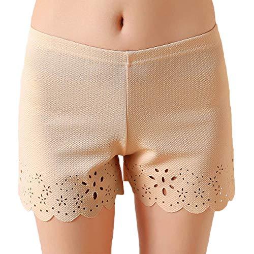 MERICAL Frauen Leggings Hosen beiläufige Spitze Feste Dehnbare Unterwäsche Shorts Nahtlose Sicherheit(Freie Größe,Beige)