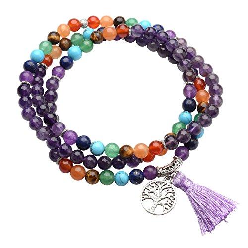 QGEM Schmuck 108 Perlen Mala Armband 8mm-Kugelstein 7 chakra Edelstein Buddha Buddhistische Tibetische Gebetskette Healing Reiki Yoga Kette Halskette mit lebensbaum Anhänger/Amethyst