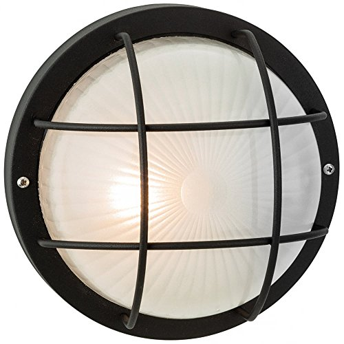 firstlight-3425bk-60w-court-wall-flush-fitting-black-with-frosted-glass