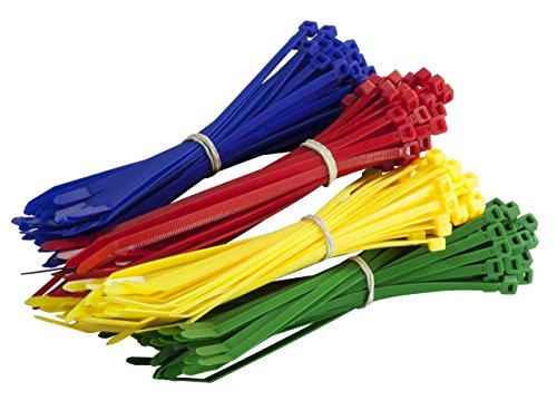 200 Multi Pack de colores Cable Ties – PREMIUM rojo, verde, azul y amarillo Tie Wraps – Alta calidad fuerte nylon Zip Ties por gocableties, multicolor