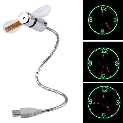 Flyproshop Min-Ventilator mit Uhranzeige mit USB-Stecker für PC oder Laptop