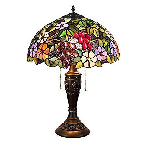 YCL Tischlampe 16 Zoll Dekoration Tischlampe Traube Glasmalerei Tischlampe Mit Online Schalter Wohnzimmer Schlafzimmer Arbeitszimmer Nachttischlampe 40 watt