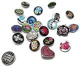 SiAura Material 20 Stück Mix Druckknöpfe, 18-20mm für 5,5mm Knopfloch, Legierung Click Button