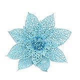 happy event Unechte Blumen   10Pcs / Set Weihnachtsblumen   Bäume Weihnachtsdekor Glitter Mi Geburtstagsparty 15cm (Hellblau)
