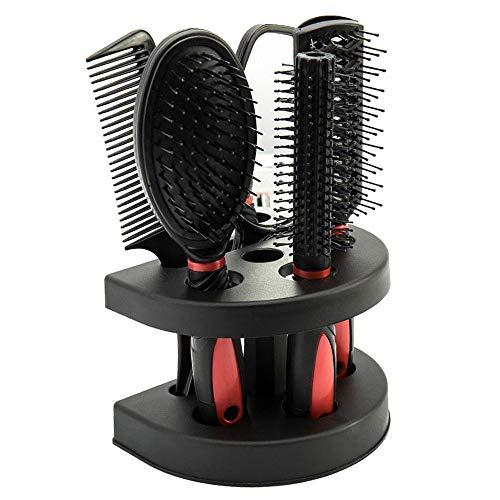 Haarbürste Antistatische Paddelbürste Unisex Massage Kämme 5er Set aus Kunststoff mit Spiegel und Ständer Günstig aber Praktisch (Rot)