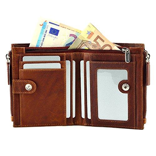 Echt Leder Herren Geldbörse Brieftasche Geldbeutel bis 16 Karten Kreditkarten Kartenetui Cognac