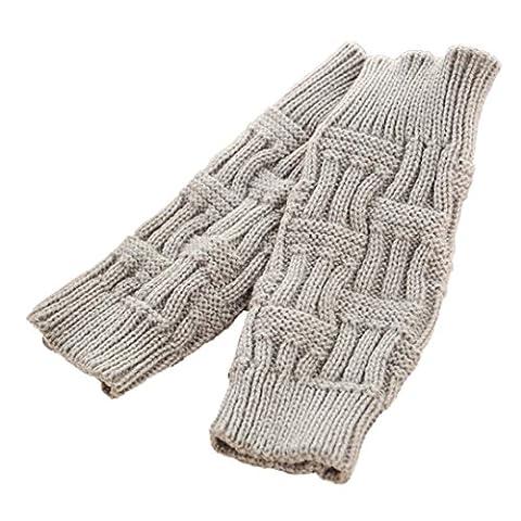 Saingace gloves Frauen Fingerlose Strickhandschuhe Wärmer Winterhandschuhe (Grau)