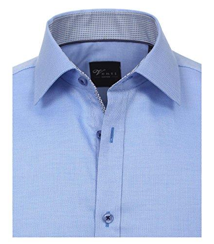 Venti Slim Fit Hemd Langarm mit Blauen Besätzen Struktur Weiß Mittelblau
