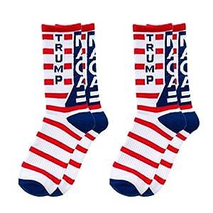Amosfun 2 Paare Trumpf 2020 Socken Uns Wahl Socken Amerikanische Flagge Socken Neuheit Baumwolle Crew Socken Machen Amerika Wieder Großartig (Blau)