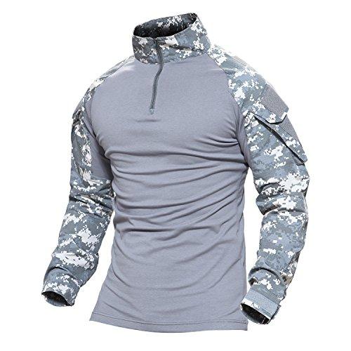 Magcomsen Herren Schlank Passen Taktisch T-Shirt Militär Airsoft Tarnung Kampf Lange Hülse Shirts Mit Reißverschluss (Bdu Uniform Camo)