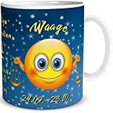 TRIOSK Tasse Smiley mit Spruch lustig Sternzeichen Waage Geburtstagstasse Geschenk für Frauen Männer Kollegen Geburtstag
