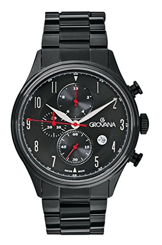 Grovana Men's Quartz Watch with Black Dial Chronograph Display and Black Plated Stainless Steel Bracelet 1192.9177