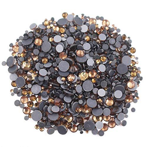 PENVEAT Strass 2500pcs Mix Größe Qualitäts-glänzende crystalab Kristalle Strass Stein Kleber Zurück Eisen auf Rhinestones für Kleidung, lt Kaffee, 1000pcs