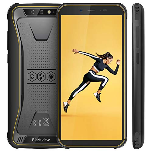 "【2019 Blackview Ufficiale】Blackview BV5500 Outdoor Smartphone Dual Sim da 4400mAh, 16GB ROM e 2GB, 32GB Espandibili, 13MP e 5MP, 5.5"" HD+ Cellulari Android 8.1, GPS/Face ID/Bussola/WIFI/Hotspot-Giallo"