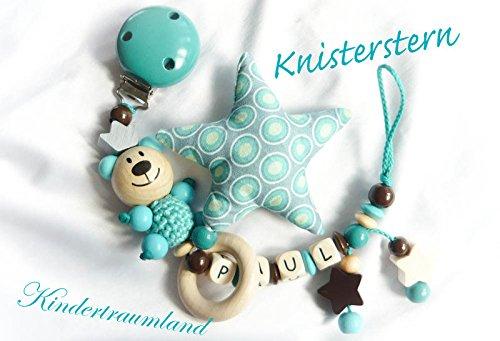 Baby Schnullerkette mit Namen - Teddy, Junge, Wunschnamen (Türkis, Großer Stern)