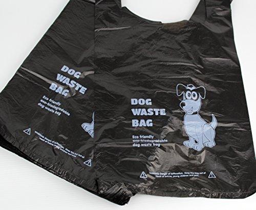 500X biodégradables pour chien Poo Sacs (Sac à déjections canines pour chien/chien Sacs poubelle)-Eco Friendly-Noir avec poignée de serrage
