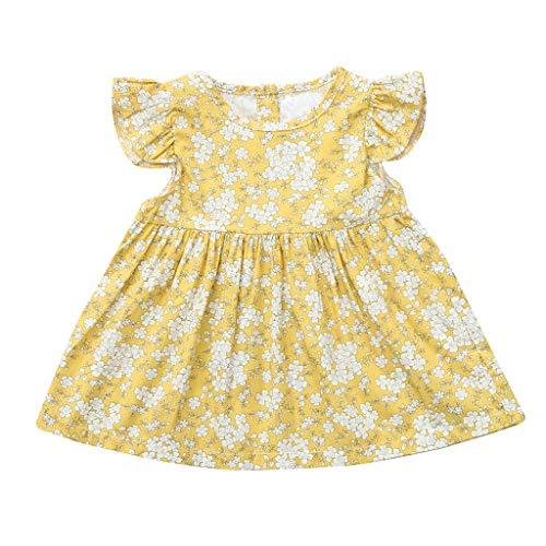 Longra Kleider Sommer-Kleinkind-Baby-Mädchen-Kinderfliegenhülse-Blumendruck-Kleid kleidet ()