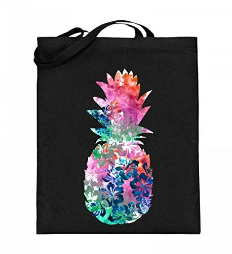 ALBASPIRIT Hochwertiger Jutebeutel (mit langen Henkeln) - Sommer Hawaii Aquarell Ananas T-Shirt Meer Wasserfarbe Strand Geschenk (Weihnachts-shirts Passende Familie Die Für)