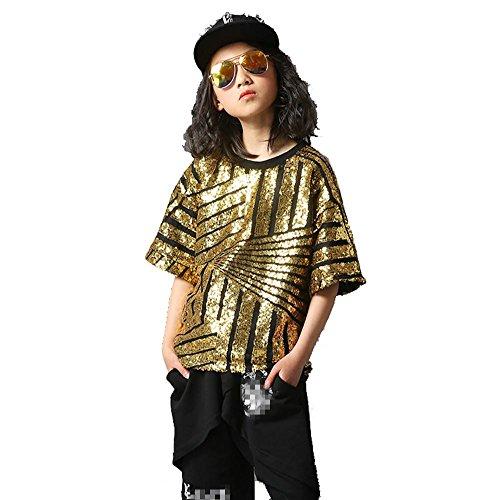 op Jazz Tanz Kostüme Kinder Baumwolle Teen Jungen Mädchen Tragen Kinder Bühne Jugend Komfort Studenten Chor Cheerleading Team Sport , Girl , 130Cm (Hip-hop-kostüme Für Jungen)