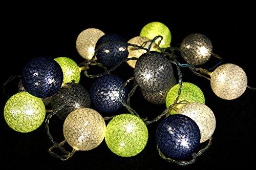 Guru-Shop Stoff Ball LED Kugel Lampion Lichterkette `modern Colours` - Grün/blau/grau, Baumwollfäden, Stimmungsleuchte, Dekorative Girlande, Partylichterkette (Lichterketten Blau Und Grün)
