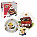 Joy Toy Geschirr-Frühstück-Set | Porzellan | Feuerwehrmann Sam | 3-teilig