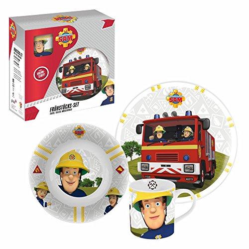 Feuerwehrmann Sam Geschirr-Frühstück-Set | Porzellan 3-teilig
