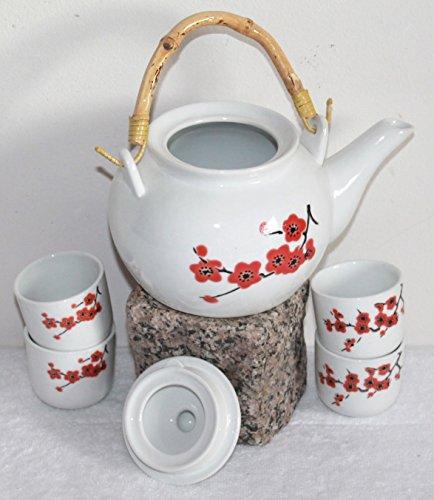 """AAF Nommel ® Teeservice 111 """"Sakura"""" weiss rot klein mit Kirschblütenzweig, Keramik"""
