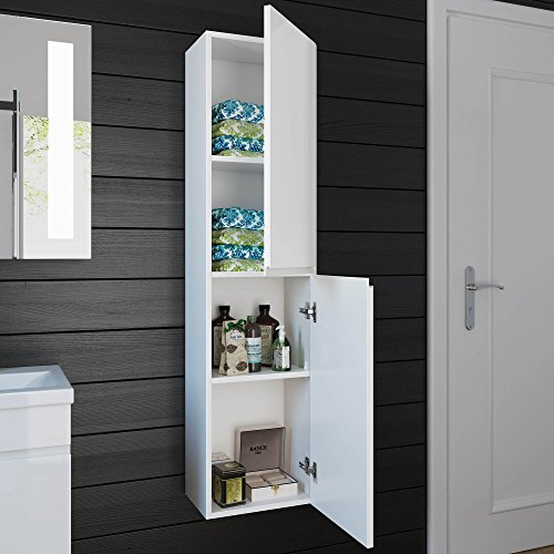 1400 mm Tall White Bathroom Furniture Wall Hung Modern Cupboard Cabinet Storage Unit MF819 : tall white bathroom storage unit  - Aquiesqueretaro.Com