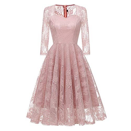 MIRRAY Damen All Seasons 2018 Dreiviertel Vintage Princess Blumenspitze Cocktail V-Ausschnitt Party...