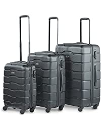 "VonHaus Luggage Set of 3 ABS Lightweight Hard Shell Suitcase - 4 Wheel 360° Spinner - Cabin Travel Trolley – (21"" 25"" 29"")"