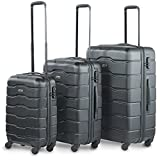 "VonHaus Luggage Set of 3 ABS Lightweight Hard Shell Black Suitcase - 4 Wheel 360° Spinner - Cabin Travel Trolley – (21"" 25"" 29"")"