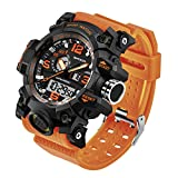 Taffstyle Herren Sportuhr Armbanduhr Silikon Sport Watch mit Licht Alarm Stoppfunktion Chronograph Digital Quarz Flieger Uhr Orange