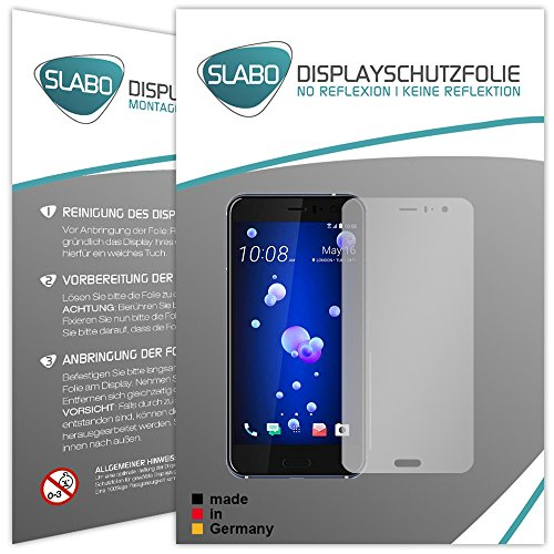 "4 x Slabo Displayschutzfolie für HTC U11 Displayfolie Schutzfolie Folie Zubehör (verkleinerte Folien, aufgrund der Wölbung des Displays) ""No Reflexion"" MATT - entspiegelnd MADE IN GERMANY"